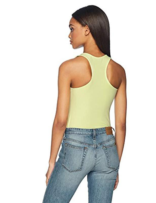 509cad0abb Lyst - Guess Sleeveless Retro Logo Bodysuit in Green