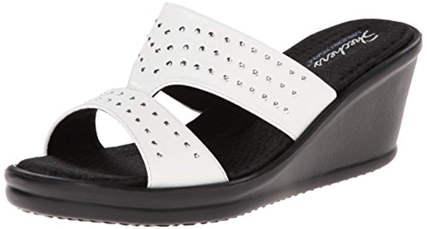 25f62f475ce3 Lyst - Skechers Cali Rumblers-hope Float Wedge Sandal in White ...