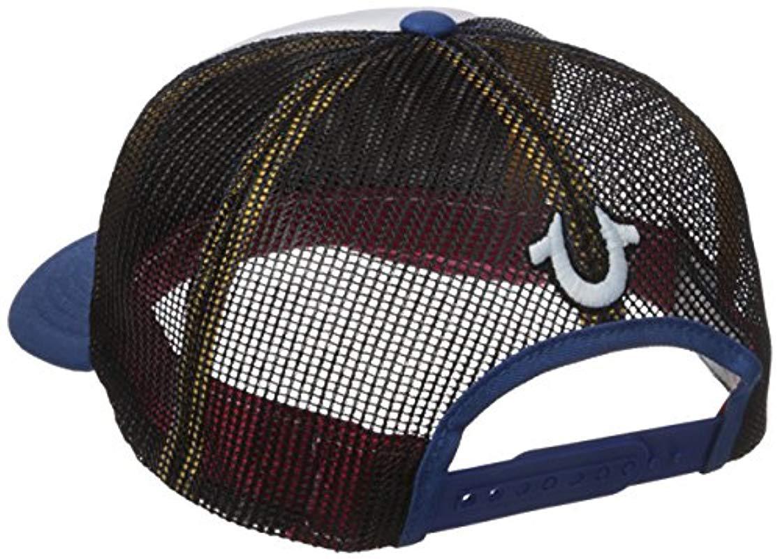 True Religion - Blue Rainbow Trucker Ball Cap for Men - Lyst. View  fullscreen ac42608ea283