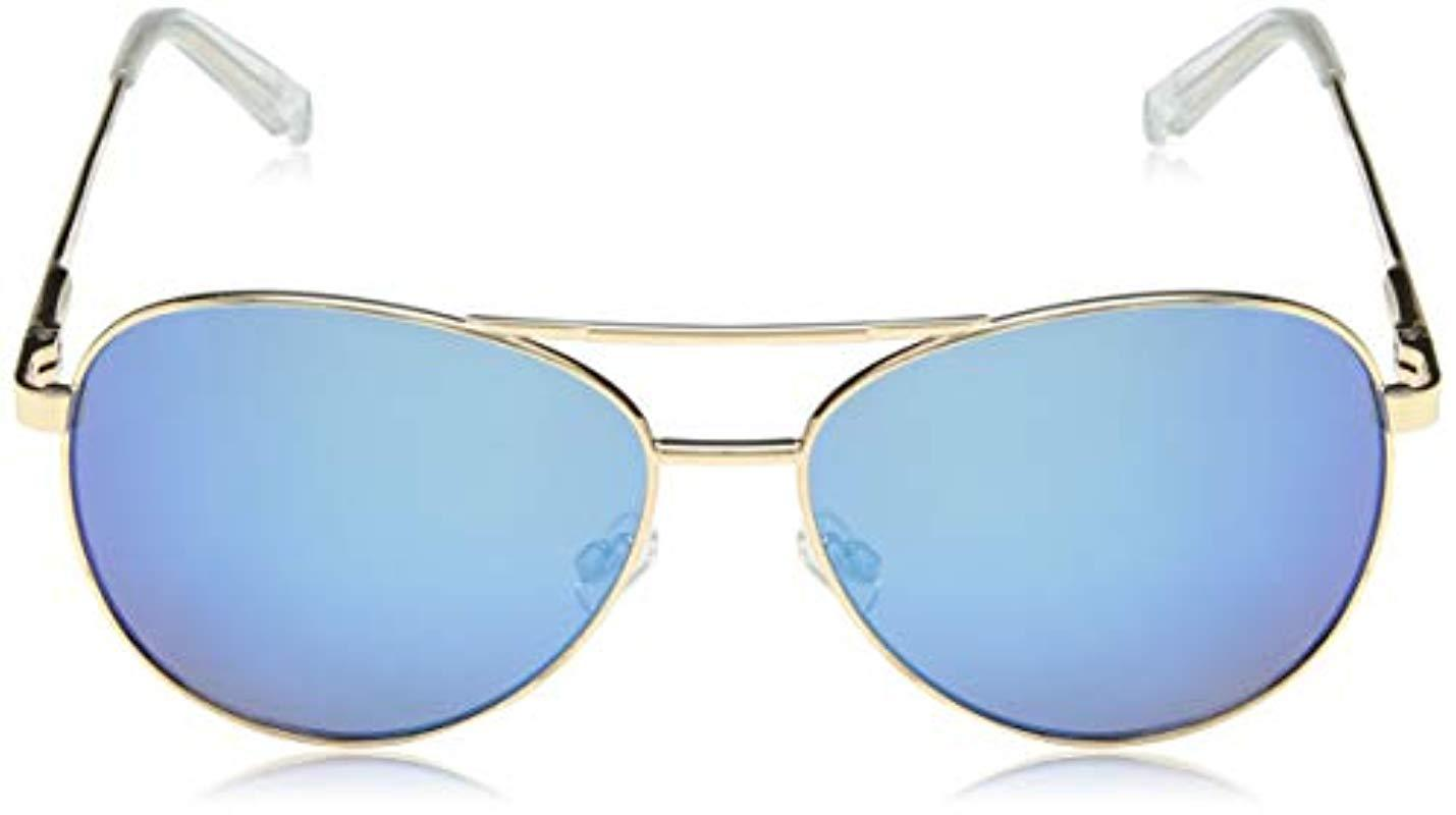 0329b17e37 Lyst - Steve Madden Sm482166 Aviator Sunglasses Gold Blue 62 Mm in Blue