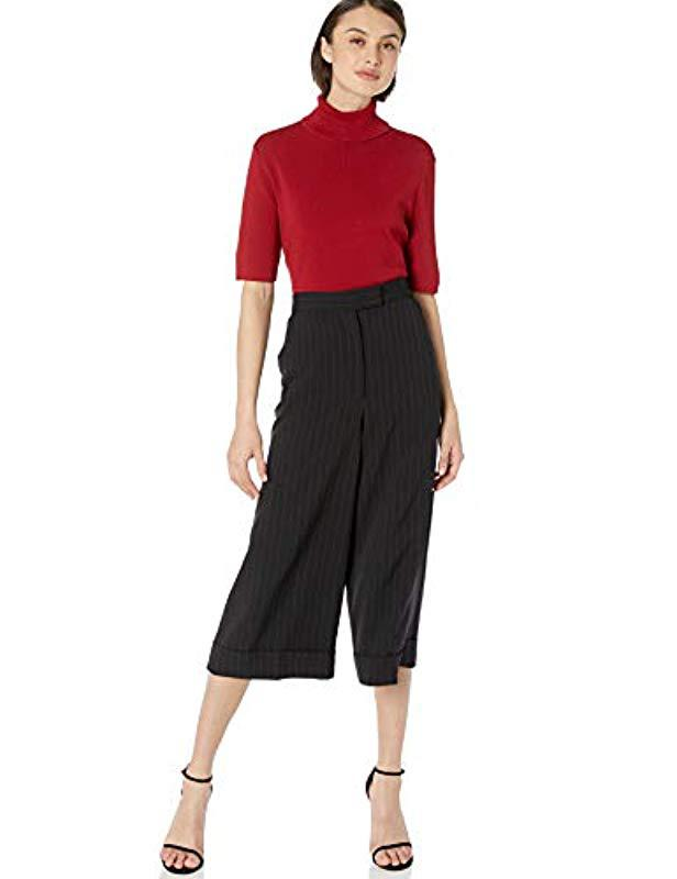 f70a218bd7f0a Lyst - Anne Klein Half Sleeve Turtleneck Sweater in Red