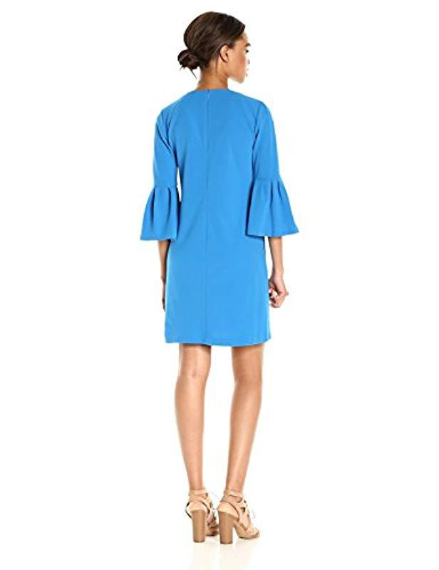 6355ca20011 Lyst - Donna Morgan 3 4 Crepe V-neck Bell Sleeve Shift With Elbow Ruffles  in Blue