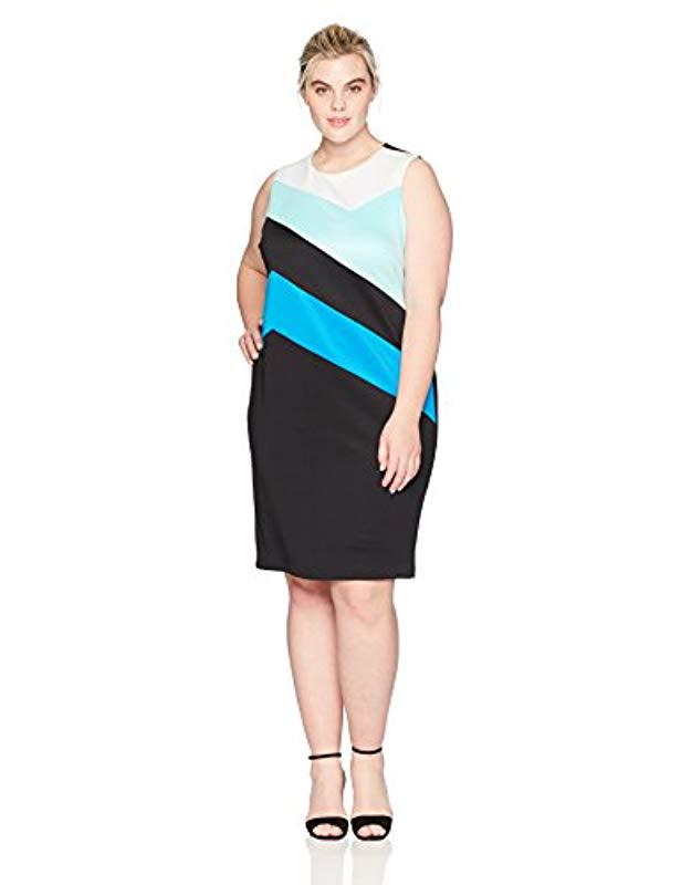 004caaa1394 Lyst - Calvin Klein Plus Size Colorblock Sheath Dress in Black ...