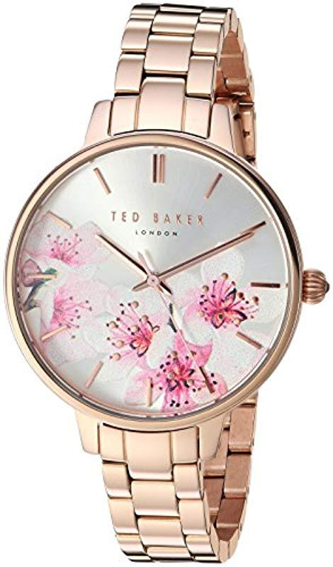 4d1b1894b Lyst - Ted Baker  kate  Quartz Stainless Steel Casual Watch in Pink