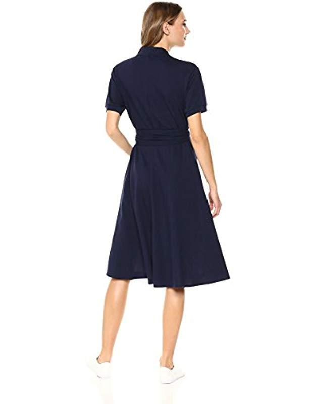 cd50a8a32170f Lyst - Lacoste Short Sleeve Classic Pique Belted Polo Dress, Ef3089 in Blue