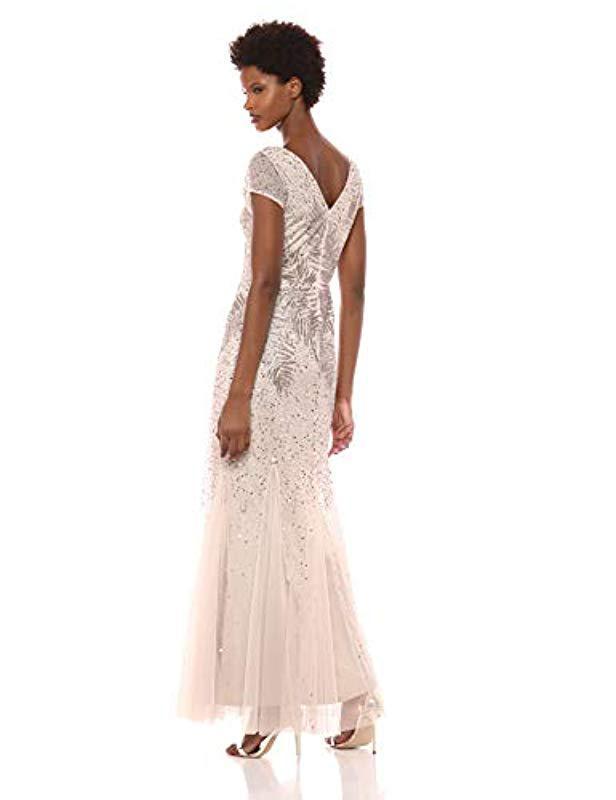 465b24e6cebd Lyst - Adrianna Papell Short Sleeve Long Feather Beaded V-neck Dress