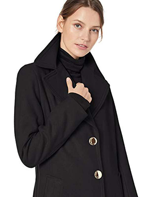 d2295665f377 Calvin Klein - Black Single Breasted Wool Coat With Notch Collar - Lyst.  View fullscreen