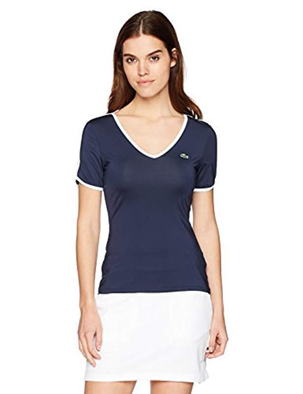 b4456d8e56132 Lyst - Lacoste Sport Short Sleeve V-neck Stretch Jersey T-shirt ...
