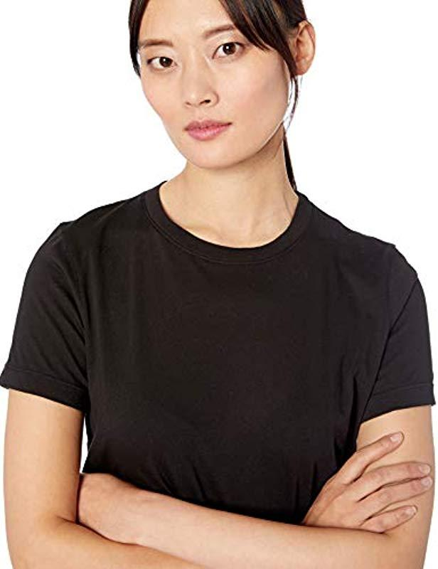 709d0d173c48a Lyst - Three Dots Kd1581 Jersey Colette Short Sleeve Crewneck in Black