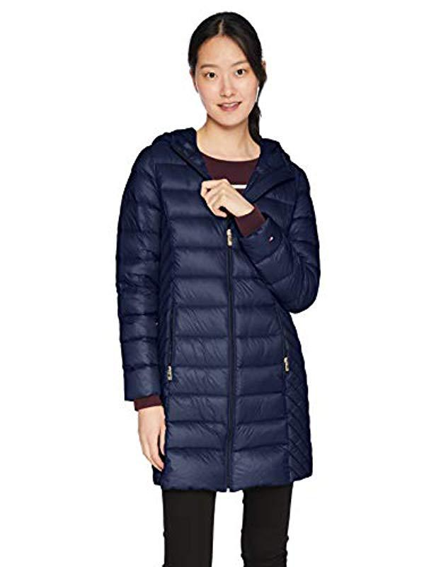 ad345868ccabc Lyst - Tommy Hilfiger Mid Legth Packable Down Quilted Coat in Blue