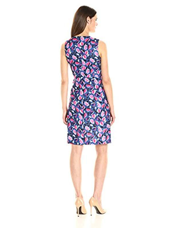 9194fa60c75 Lyst - Anne Klein Sleeveless Crew Neck Printed A-line Dress in Blue