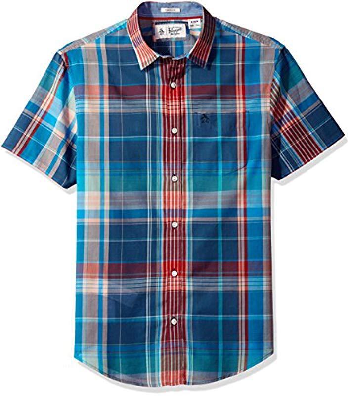 e221eeb2c Original Penguin. Men's Blue Short Sleeve Button-up Shirt, Roadmap Plaid  Lawn