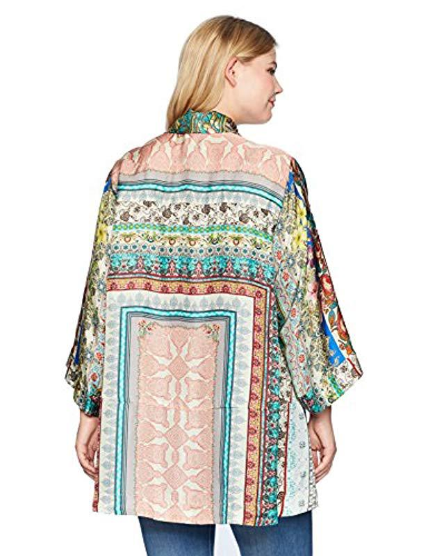 3e70384e725 Lyst - Johnny Was Size Plus Printed Silk Kimono With Tie