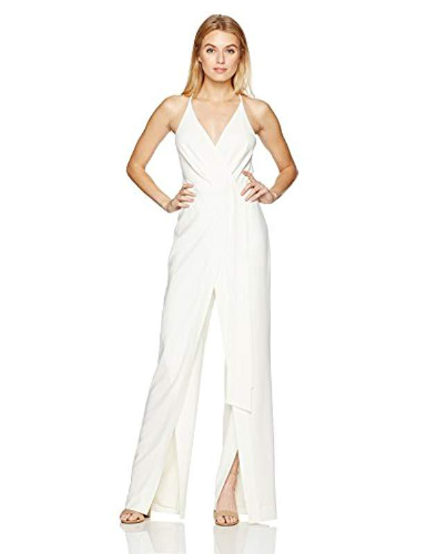 ce6170b73f4 Lyst - Halston Sleeveless Deep V Neck Faux Wrap Jumpsuit Sash in ...