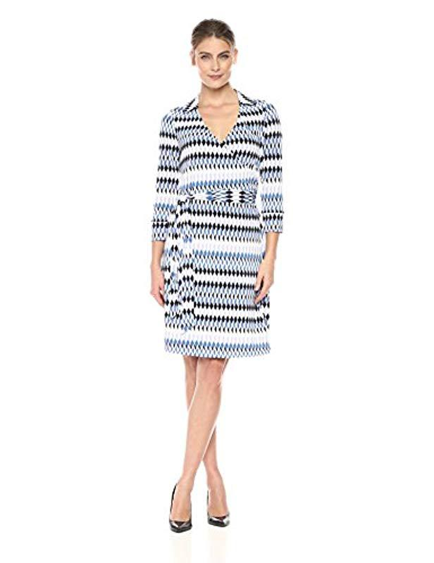 e57c237d92d Lyst - Lark   Ro Three Quarter Sleeve Patterned Wrap Dress in Blue ...