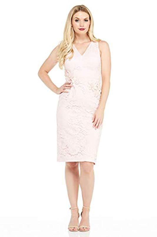 3e4918663ce2 Lyst - Maggy London Rose Garden Lace Cocktail Sheath in Pink - Save 30%