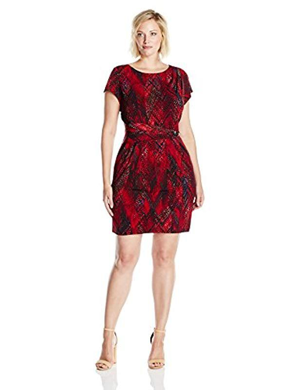 Lyst - Ellen Tracy Plus-size Printed Jersey Dress in Red - Save 74%