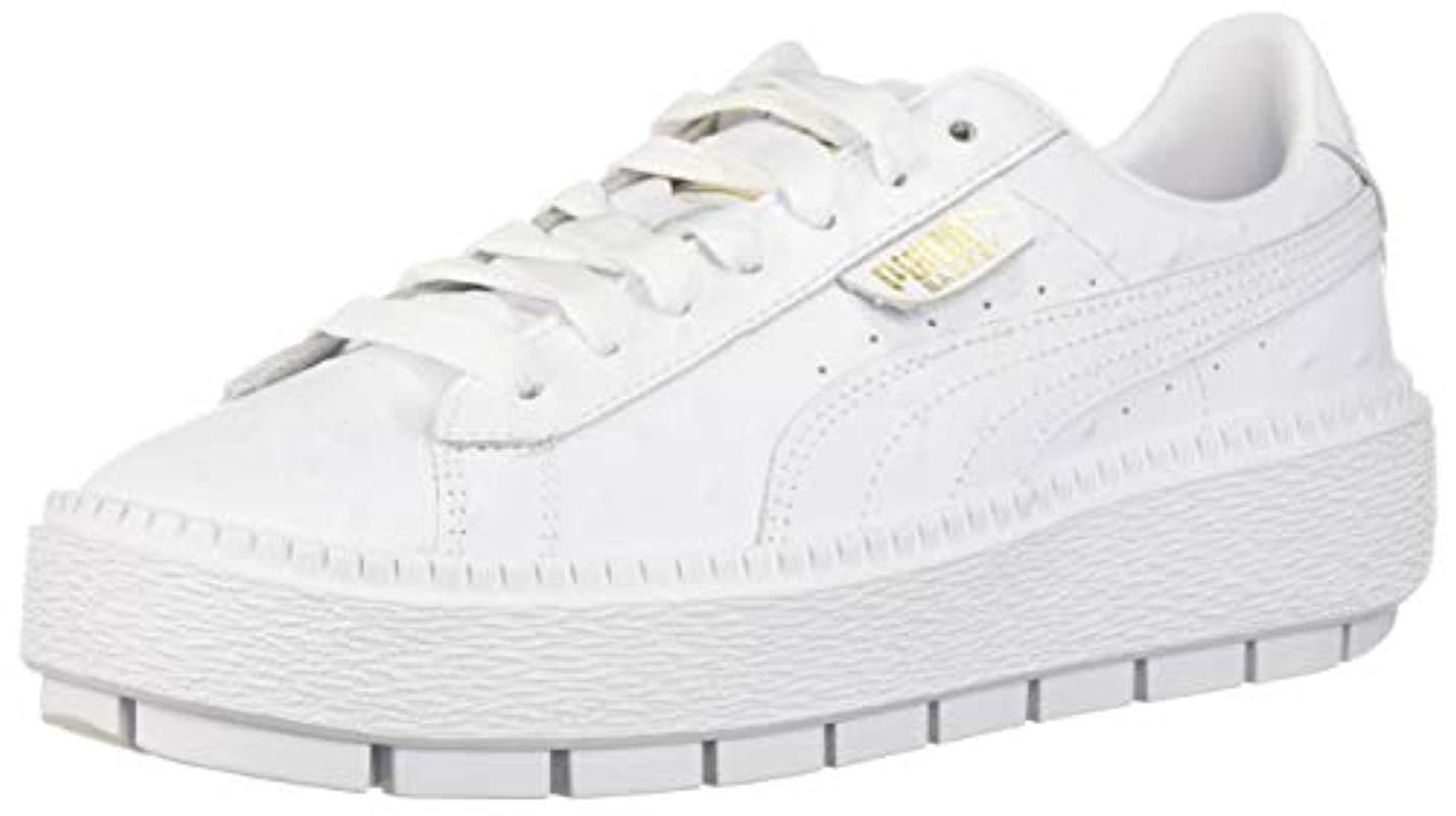 cd3eeee87c306e PUMA. Women s White Platform Trace Ostrich Sneaker.  110 From Amazon Prime