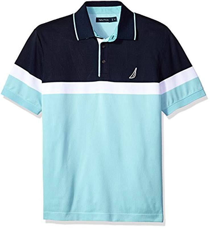 3ba62001 Nautica Classic Short Sleeve Color Block Moisture Wicking Polo Shirt ...