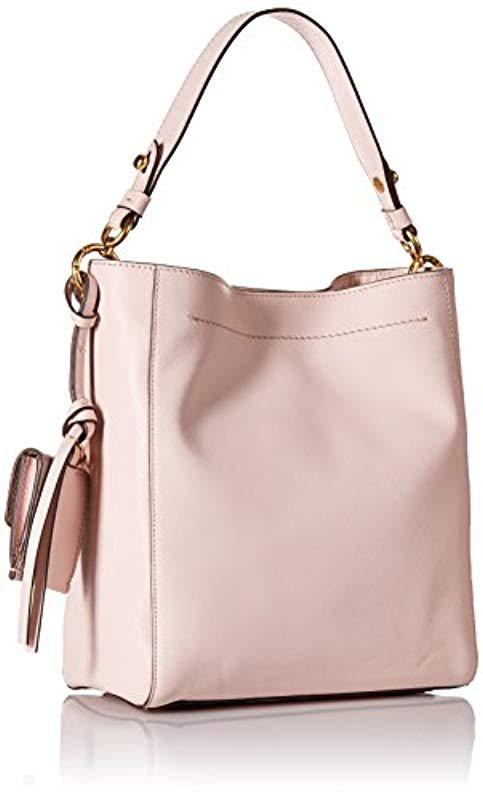 38394138ff2 Cole Haan - Pink Zoe Small Bucket Crossbody Leather Bag - Lyst. View  fullscreen