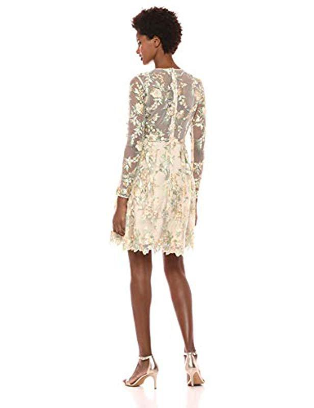fd1bba1b62 Lyst - ML Monique Lhuillier Long Sleeve Embroidered Mesh Cocktail