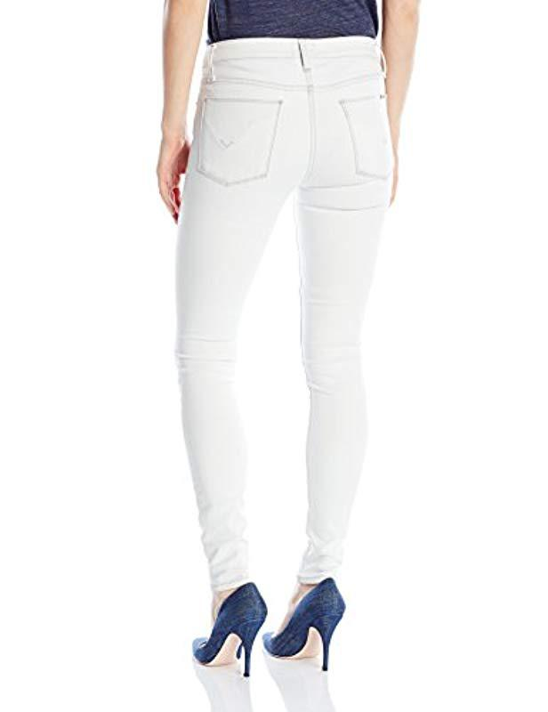95c1c432d2b Lyst - Hudson Jeans Ciara Super Skinny Exposed Buttons Jeans in White
