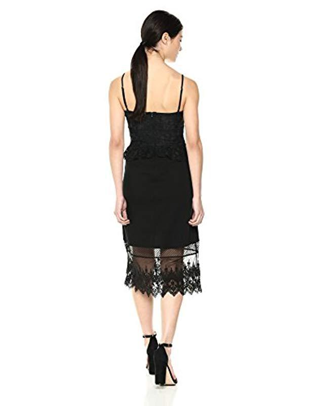 dd8eb4e2929 Lyst - French Connection Delos Lucky Layer Lace And Sheer Dress in Black