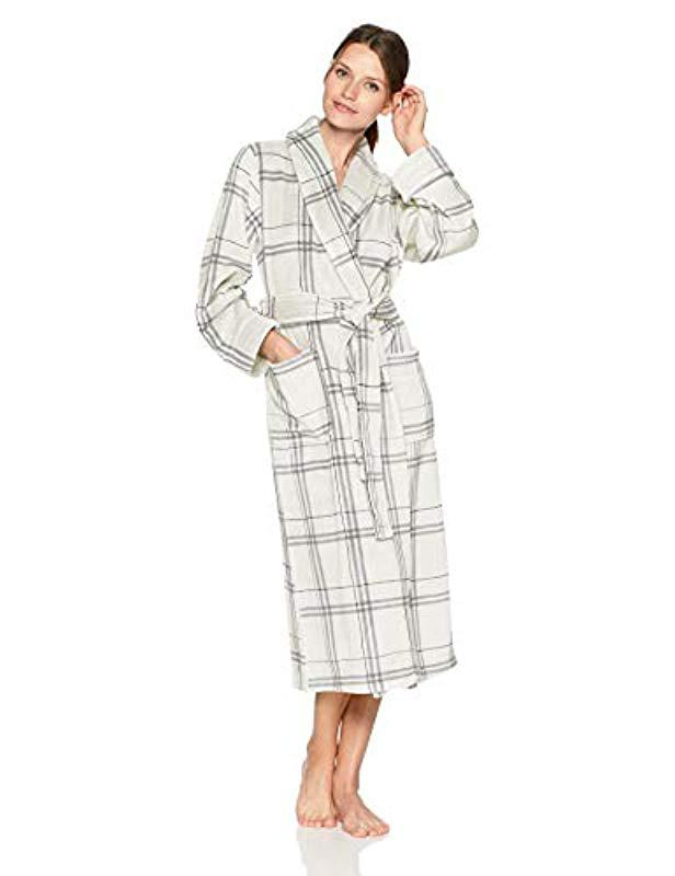 Lyst - Arabella Printed Plaid Plush Robe in Gray 9b1ff324a
