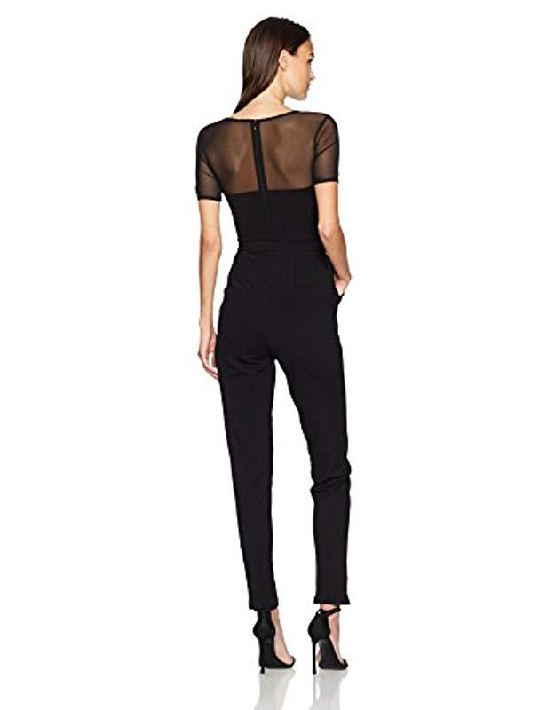 c98bfbc4fcb Lyst - French Connection Black Lace And Sheer Fitted Straight Leg Jumpsuit  in Black
