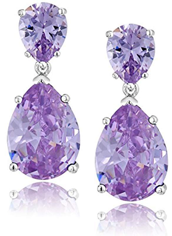 Cz By Kenneth Jay Lane Women S Cubic Zirconia Double Pear Drop Earrings