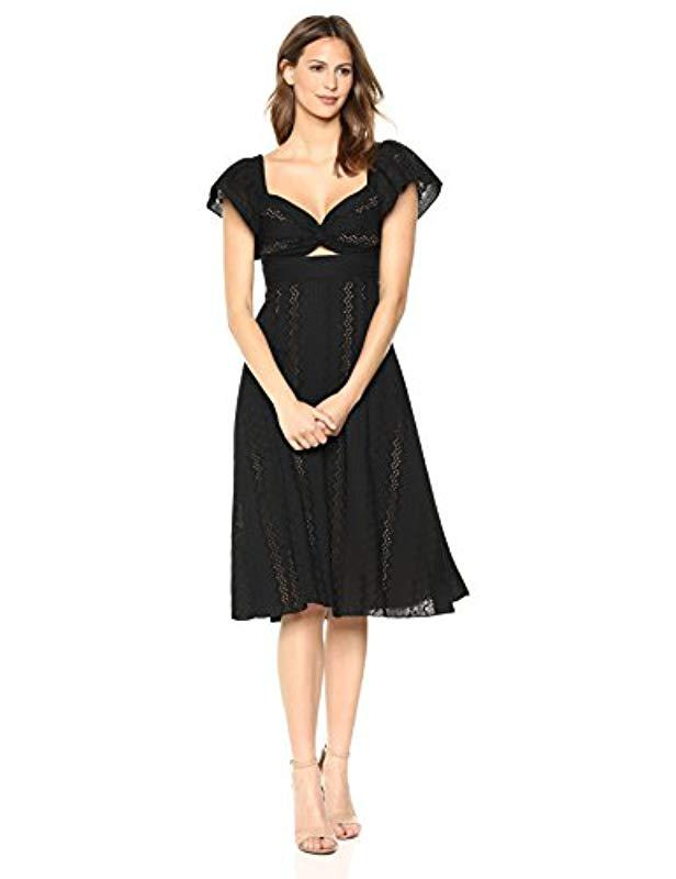 Lyst Bcbgmaxazria Embroidered Fit And Flare Midi Dress In Black