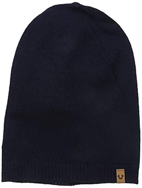 87ab91630ec22 Lyst - True Religion Slouch Beanie in Blue for Men - Save 6.0%