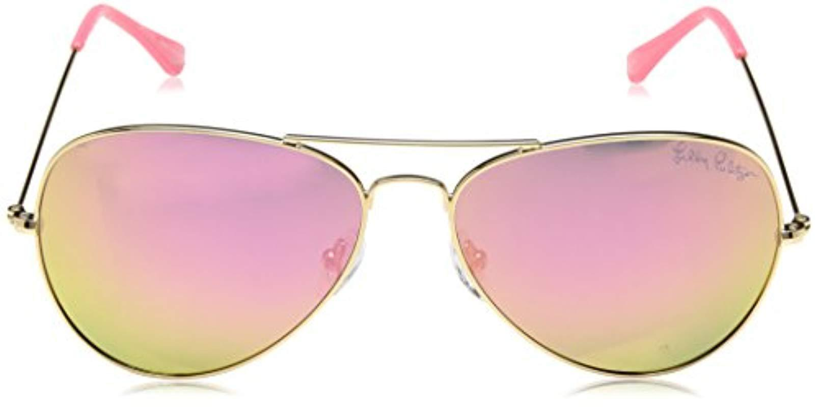 2f6bf10b6c2 Lilly Pulitzer - Multicolor Lexy Lexysb59 Polarized Aviator Sunglasses -  Lyst. View fullscreen