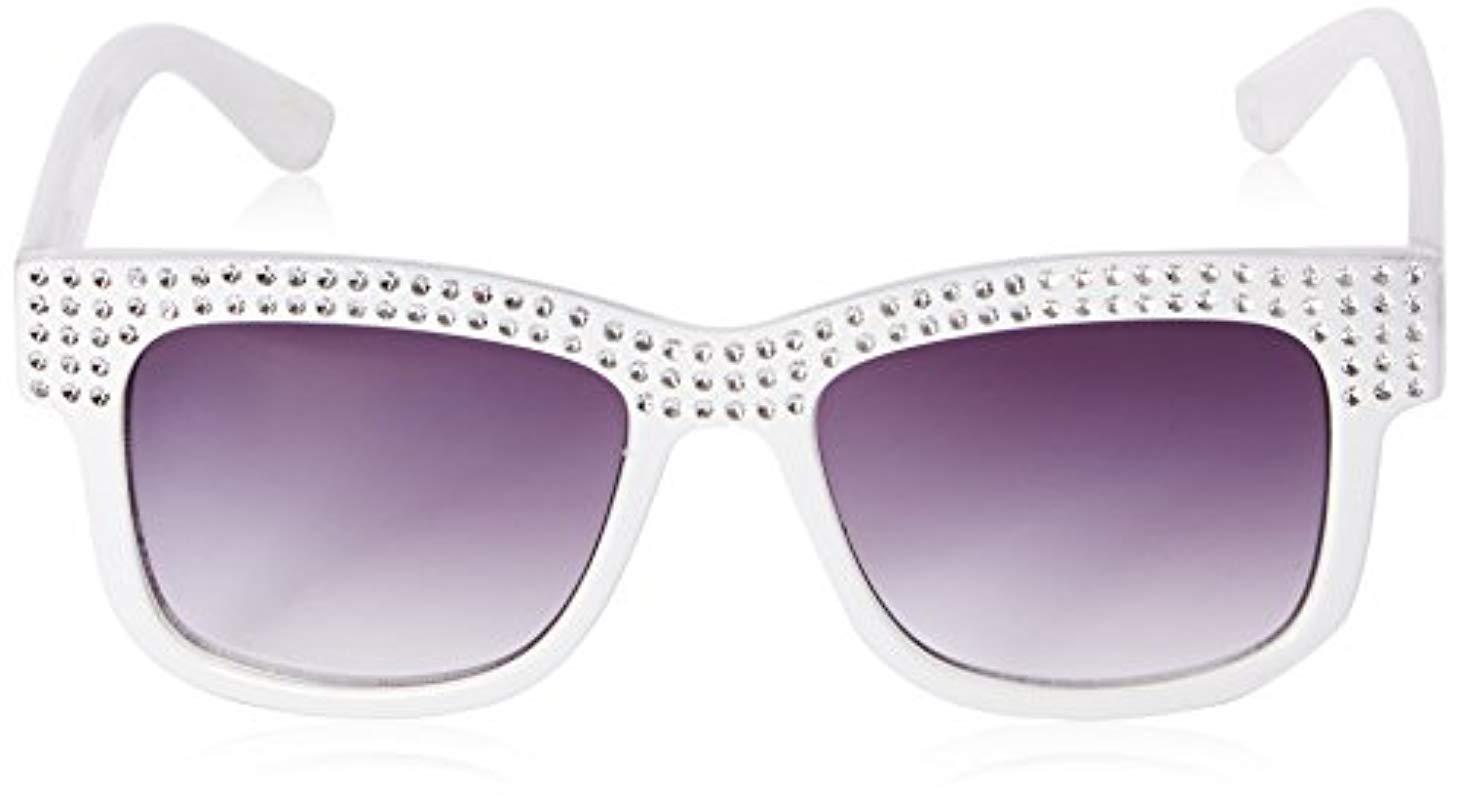 3b3676c9f8dfe Betsey Johnson - White Chelsea Square Sunglasses - Lyst. View fullscreen