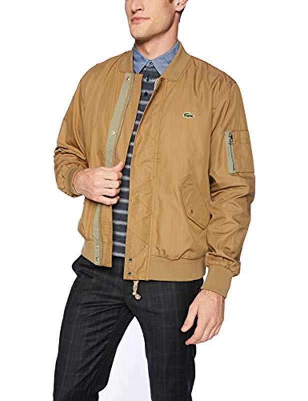 eac8b629e Lacoste. Men s Natural Cotton nylon Bomber Jacket ...