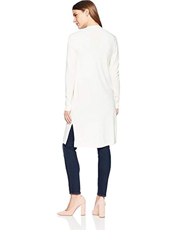 Lyst - Lark   Ro Lightweight Long Sleeve Long Cardigan Sweater in White 81bc9d026