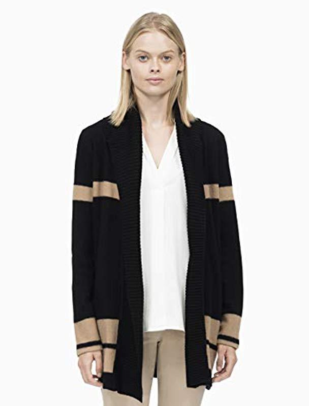 34a83c1cf6 Calvin Klein Colorblock Cardigan With Ribbed Trim in Black - Lyst