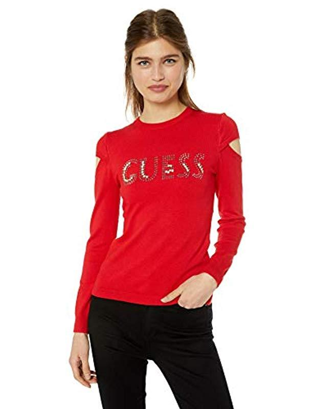 0274f9b8a825c Lyst - Guess Long Sleeve Holly Baroque Logo Sweater in Red