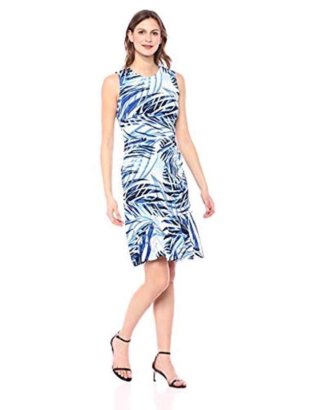 b7bfc68b2157 Lyst - Eliza J Palm Tree Patterned Sleeveless Sheath Dress in Blue
