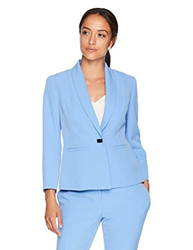 087b54c97fe Lyst - Kasper Petite Stretch Crepe One Button Jacket With Notch ...
