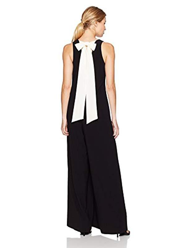 a0761cb8ca Lyst - Halston Sleeveless V Neck Flowy Jumpsuit With Back Sash in Black -  Save 29%