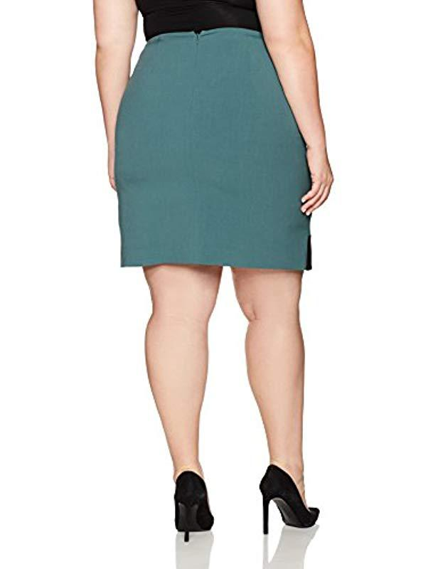 f3d49c77aa6 Lyst - Nine West Plus Size A Line Colorblock Skirt in Black