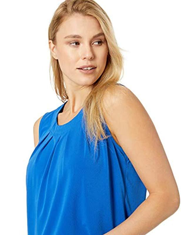46bece33301166 Lyst - Kasper Sleeveless Pleated Jewel Neck Moss Crepe Cami in Blue