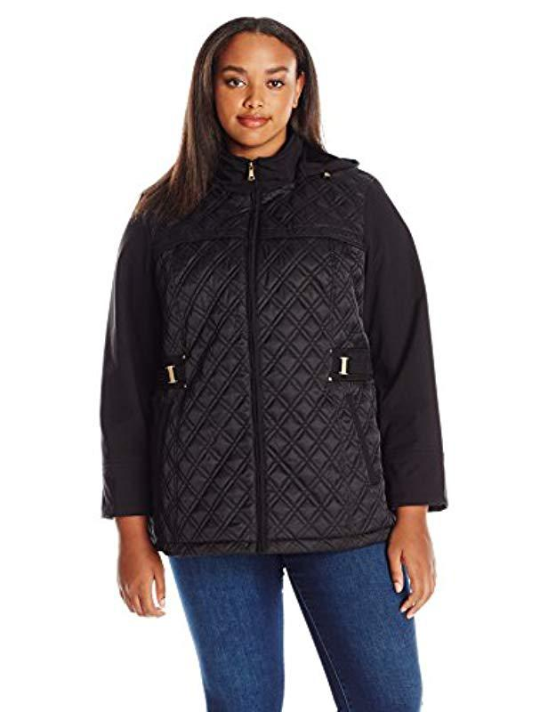 8b8833f816d Jones New York. Women s Black Plus Size Diamond Quilted Soft Shell With  Detachable Hood