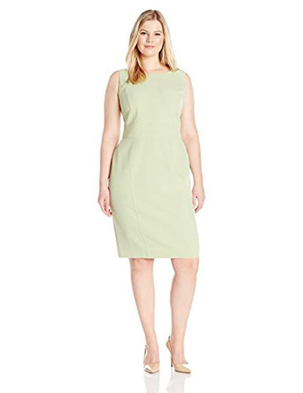 16e8123319b6 Lyst - Kasper Plus Size Short Sleeve Solid Dress With Seaming in Green