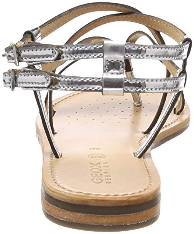 2218b800316ef Lyst - Geox Sozy 21 Flat Sandal in Metallic