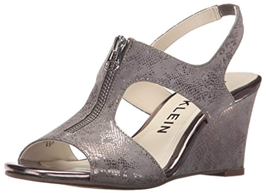 b6d5f4b57ee8 Lyst - Anne Klein Edan Fabric Wedge Sandal - Save 78.57142857142857%
