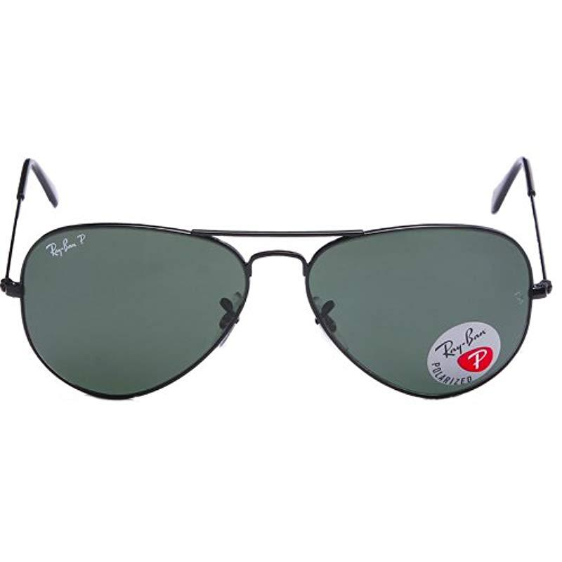 Lyst - Ray-Ban Aviator Large Metal - Black Frame Crystal Green ...