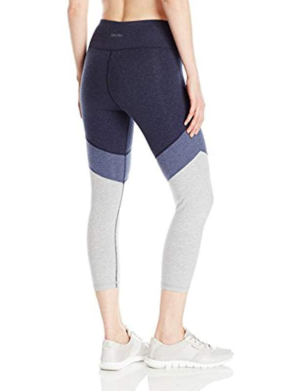5c673889f38bd Lyst - Calvin Klein Performance Color Block High Waist Crop Legging ...