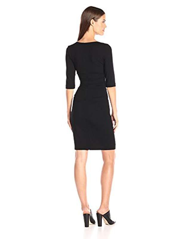 Lyst - Nicole Miller Jersey 3 4 Sleeve Tuck Dress in Black 657454129